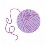 purple ball of yarn illustration