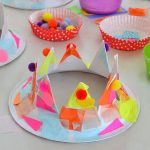 DIY kids craft paper plate party hat crowns